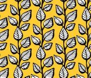 Abstrakcjonistyczny wektorowy bezszwowy wzór z liśćmi na żółtym tle Tło z kwiatu grunge teksturą Zdjęcie Royalty Free