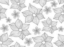 Abstrakcjonistyczny wektorowy bezszwowy wzór z obliczającymi kwiatami royalty ilustracja