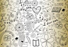 Abstrakcjonistyczny wektorowy bezszwowy wzór z słowami miłość, książki, muzyk notatki, kwiaty i serca ręcznie pisany na starym pa Zdjęcia Stock