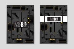 Abstrakcjonistyczny wektorowy Black Friday układu tło Dla kreatywnie sztuka projekta, lista, strona, mockup tematu styl, sztandar Fotografia Stock