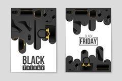 Abstrakcjonistyczny wektorowy Black Friday układu tło Dla kreatywnie sztuka projekta, lista, strona, mockup tematu styl, sztandar Obrazy Stock