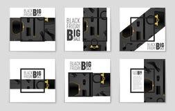 Abstrakcjonistyczny wektorowy Black Friday układu tło Dla kreatywnie sztuka projekta, lista, strona, mockup tematu styl, sztandar Obrazy Royalty Free