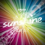Abstrakcjonistyczny wektorowy błyszczący tło z słońce racą Zdjęcia Royalty Free
