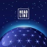 Abstrakcjonistyczny wektorowy futurystyczny astronautyczny tło, sfera z jaśnieniem Fotografia Royalty Free
