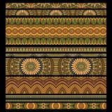 Abstrakcjonistyczny wektorowy plemienny lampasa tła set Obrazy Stock