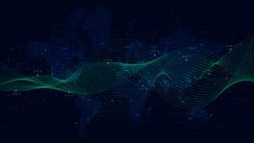 Abstrakcjonistyczny wektorowy tło z dynamicznymi fala, duży dane unaocznienie z światową mapą ilustracji