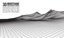 Abstrakcjonistyczny wektorowy wireframe krajobrazu tło Cyberprzestrzeni siatka 3d technologii wireframe wektoru ilustracja cyfrow Fotografia Royalty Free