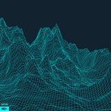 Abstrakcjonistyczny wektoru krajobrazu tło Cyberprzestrzeni siatka ilustracji