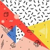 Abstrakcjonistyczny wektoru wzór z geometrycznymi kształtami Retro Memphis styl ilustracji