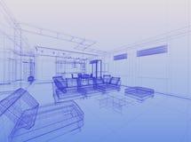 abstrakcjonistyczny wewnętrzny wireframe Obraz Stock
