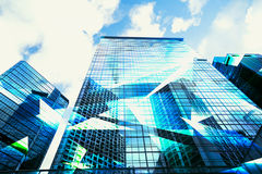 Abstrakcjonistyczny widok Miastowy sceny i drapaczy chmur zaawansowany technicznie biznes Zdjęcie Royalty Free