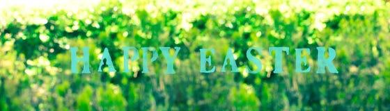 Abstrakcjonistyczny Wielkanocny kolorowy natury bokeh tła sztandar Fotografia Royalty Free