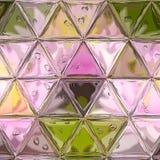 Abstrakcjonistyczny wieloboka tło z trójboka wzorem w pastelowych menchii fiołkowych purpurach barwi, przejrzysty szkło z kroplam ilustracji