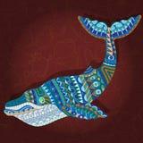 Abstrakcjonistyczny wieloryb z geometrycznym wzorem na Burgundy tle Obraz Stock