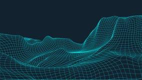 Abstrakcjonistyczny wireframe krajobrazu tło Cyberprzestrzeni siatka 3d technologii ilustracja Digital dla prezentacj Zdjęcia Stock