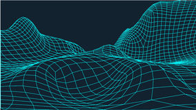 Abstrakcjonistyczny wireframe krajobrazu tło Cyberprzestrzeni siatka 3d technologii ilustracja Digital dla prezentacj Obrazy Stock