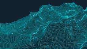 Abstrakcjonistyczny wireframe krajobrazu tło Cyberprzestrzeni siatka 3d technologii ilustracja Digital dla prezentacj Obraz Stock