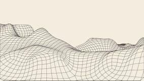 Abstrakcjonistyczny wireframe krajobrazu tło Cyberprzestrzeni siatka 3d technologii ilustracja Digital dla prezentacj Fotografia Stock