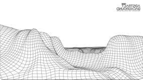 Abstrakcjonistyczny wireframe krajobrazu tło Cyberprzestrzeni siatka 3d technologii ilustracja Digital dla prezentacj Zdjęcie Stock