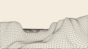 Abstrakcjonistyczny wireframe krajobrazu tło Cyberprzestrzeni siatka 3d technologii ilustracja Digital dla prezentacj Obrazy Royalty Free