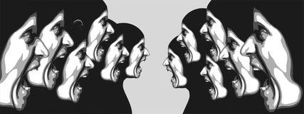 Abstrakcjonistyczny wizerunek arngry ludzie Obrazy Stock