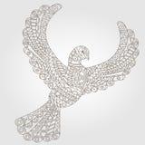 Abstrakcjonistyczny wizerunek gołąbka deseniująca, ciemny kontur na lekkim tle Zdjęcie Stock