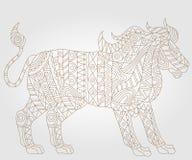 Abstrakcjonistyczny wizerunek lew, ilustracja kontur na lekkim tle Obraz Royalty Free