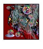 Abstrakcjonistyczny wizerunek na czerwieni z bąblami Zdjęcia Royalty Free