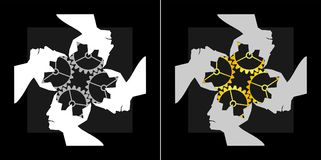 Abstrakcjonistyczny wizerunek pracy zespołowej inteligenci wspólny logo Fotografia Stock