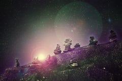 Abstrakcjonistyczny wizerunek równoległy wszechświat, widok od niewiadomego ston ilustracji