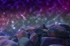 Abstrakcjonistyczny wizerunek równoległy wszechświat, widok od niewiadomego ston ilustracja wektor