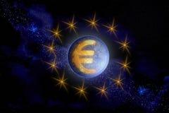 Abstrakcjonistyczny wizerunek symbol Europejski waluta euro jako a ilustracji