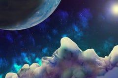 Abstrakcjonistyczny wizerunek widok przestrzeń od niewiadomej lodowej planety, il ilustracji