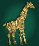 Abstrakcjonistyczny wizerunek żyrafa na ciemnozielonym kwiecistym tle Obrazy Royalty Free