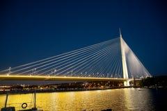 Abstrakcjonistyczny wizerunek - zawieszenie most Nocy światła Półmrok linia horyzontu Zdjęcie Stock