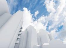 Abstrakcjonistyczny współczesny pejzaż miejski i chmury royalty ilustracja