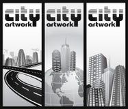 abstrakcjonistyczny wstępu miasta setu bilet ilustracji