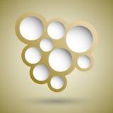 Abstrakcjonistyczny złocisty mowa bąbla tło Zdjęcia Stock