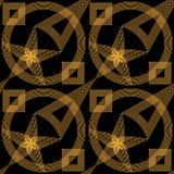 Abstrakcjonistyczny złoto i czarny bezszwowy wzór Zdjęcia Stock