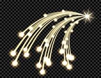 Abstrakcjonistyczny złoty falowy projekta element z połyskiem i lekki skutek na ciemnym tle Kometa z trzy ogonami, gwiazda Fotografia Stock