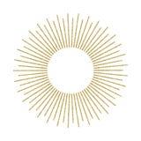 Abstrakcjonistyczny złoty sunburst na białym tle Rocznika słońca wybuch ilustracja wektor