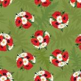 Abstrakcjonistyczny zawijasa kwiatu chamomile i makowa bezszwowa tekstura Zdjęcie Stock
