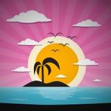 Abstrakcjonistyczny zmierzchu oceanu tło z palmą royalty ilustracja