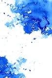 Abstrakcjonistyczny zmrok - błękitna załzawiona rama Nadwodny tło Atramentu rysunek royalty ilustracja