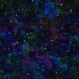 Abstrakcjonistyczny zmrok - błękitny wszechświat Kolorowej nocy gwiaździsty niebo Multicolor kosmos tło tekstury stara ceglana śc royalty ilustracja