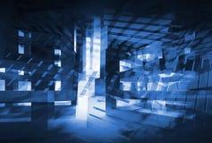 Abstrakcjonistyczny zmrok - błękitny 3d cyfrowy tło pojęcie zaawansowany technicznie Zdjęcia Stock