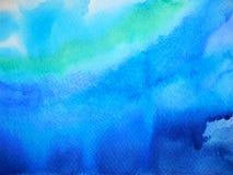 Abstrakcjonistyczny zmrok - niebieskie niebo oceanu fala akwareli wodny denny obraz Zdjęcia Stock