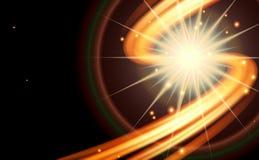 Abstrakcjonistyczny zmrok wyginająca się linia ognia z gwiazdami Zdjęcia Royalty Free