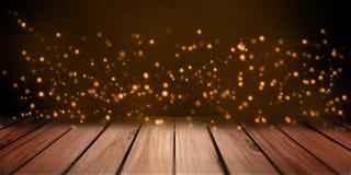 Abstrakcjonistycznych świateł pomarańczowy bokeh na drewno talerza półki stołu perspektywie zdjęcia royalty free
