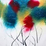 Abstrakcjonistycznych akrylowych kwadratowych wildflowers kwiecisty obraz na bielu fotografia stock